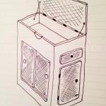 Skizze des Küchenmoduls für den VW Bus