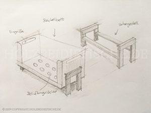 Skizze vom Kinderbett